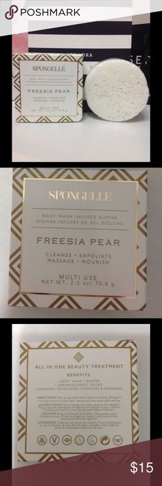 Spongelle freesia Pear body wash infused buffer A frangranced shower sponge that's infused with moisturizers.. sponge releases a velvety lather it smells lush, fresh, and slightly floral.. it is AMAZING!! Spongelle Makeup
