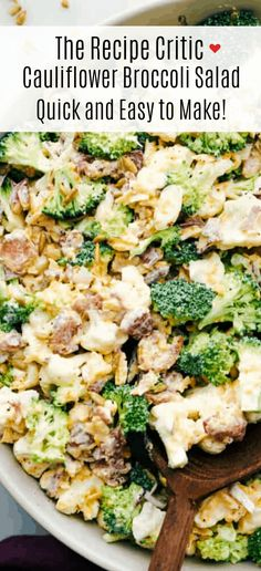Cauliflower broccoli salad is filled with fresh florets and red onions, bacon pieces with chunks of cheese making this the perfect side salad. Veggie Side Dishes, Vegetable Dishes, Side Dish Recipes, Broccoli Cauliflower Salad, Cauliflower Recipes, How To Make Broccoli, Bulgogi Recipe, Cooking Recipes, Healthy Recipes