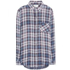 Current/Elliott The Prep School Plaid Cotton Shirt ($170) ❤ liked on Polyvore featuring tops, shirts, flannels, blue, preppy shirts, cotton plaid shirt, blue cotton shirt, blue plaid shirt and plaid shirt