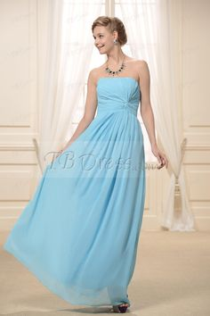 Pleats A-Line Strapless Floor-Length Bridesmaid Dress : Tbdress.com