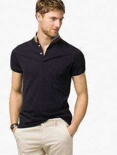 PLAIN POLO SHIRT WITH MAO COLLAR