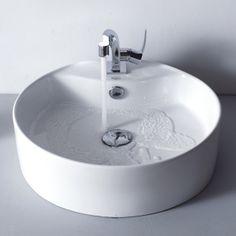 Kraus C-KCV-142-15101CH White Round Ceramic Sink and Typhon Basin Faucet Chrome