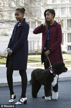 Sunny Obama Family | First pets: Mrs Obama holds her dog Sunny (left), the newest addition ...