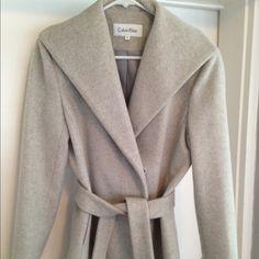 Calvin Klein Wool Coat Gray, wool Calvin Klein wrap coat. Grey/pink lining. Size 2P (runs large). Calvin Klein Jackets & Coats Pea Coats