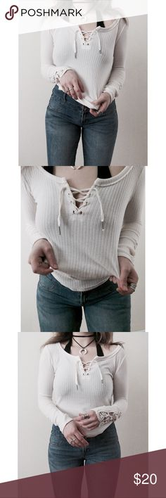 White Ribbed Lace Up Long Sleeve Crochet Tee Shirt 🌻🌻👁🌻🌻  I try to exhibit each item in my closet as accurately as possible (color, sizing, etc.) I am more than happy to provide measurements and additional item information as needed.  Your order ships same or next business day.  Questions or inquiries? Feel free to gimme a shout!  Price is always negotiable; however, please offer respectfully. Thank you! ✌🏻️ Urban Outfitters Tops Tees - Long Sleeve