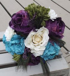 Wedding Flowers,  Rustic Bouquet, Wedding Bouquet, Bridal Bouquet, Flowers with Peacock feathers, Teal Peony, Cream and Purple Rose