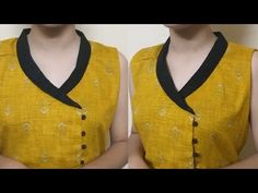 Easy Extended Shawl Collar Neck Cutting and Stitching – dressideas Collar Kurti Design, Salwar Suit Neck Designs, Kurti Sleeves Design, Churidar Designs, Kurta Neck Design, Chudidhar Neck Designs, Neck Designs For Suits, Designs For Dresses, Blouse Neck Designs