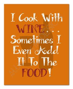Printable Art Cooking With Wine 8x10 by attitudesindesign on Etsy, $7.00