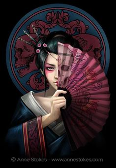 Anne Stokes I've always found oriental style imagery interesting, and here's a new design from me incorporating some of these elements. In my art I often like to use the design to suggest a scenario. Here the geisha girl holds her fan to cover part of her face and perhaps in doing so she also hides part of her intention. The skull motif on the fan lines up with her to suggest that something sinister may be going on.