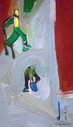 En la estación de trenes , acrylic on canvas, 28 x 44 cm., 1998