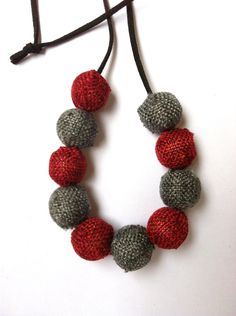 Necklace with grey and red beads (made to order). $20.00, via Etsy. How To Make Beads, Crochet Necklace, Necklaces, Grey, Jewelry, Fashion, Gray, Moda, Crochet Collar
