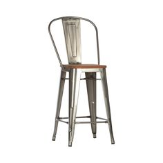 It's pretty tough to go wrong with a classic design like this one. The slightly industrial feel is softened by a nicely-stained wooden seat. The wonderful simplicity of this piece allows for versitilit...  Find the Farmhouse Bar Stool, as seen in the Rustic Farmhouse Style Collection at http://dotandbo.com/collections/rustic-farmhouse-style?utm_source=pinterest&utm_medium=organic&db_sku=DBI1203-MET-BAR