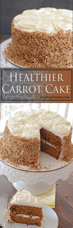 A delicate moist and healthier carrot cake, you'll never miss the extra sugar, fat or the white flour! Delicious Cake Recipes, Cupcake Recipes, Yummy Cakes, Baking Recipes, Cupcake Cakes, Dessert Recipes, Cupcakes, Healthy Recipes, Pie Recipes
