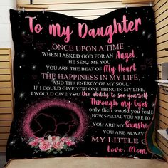 LHD Family quilt - Mom to daughter - Once upon a time Daughters Day, To My Daughter, Message To Daughter, Custom Name Necklace, Brenda Song, My Beautiful Daughter, Kona Cotton, Love Yourself Quotes, Kid Names
