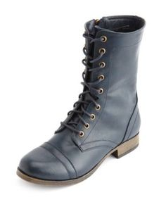side-zip lace-up combat boot | Charlotte Russe | $25
