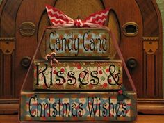 Christmas  Sign, Christmas blocks, Candy Cane Kisses and Christmas Wishes, Christmas Decor Word Blocks Sign