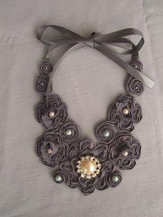DIY Idea: ribbon tulle rosette bib necklace
