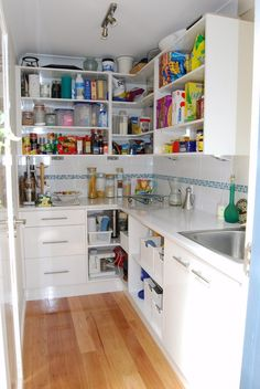 Walk-in Pantries...need much bigger but like the idea of a sink and extra fridge....off the kitchen, can't see