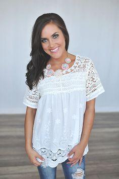 Dottie Couture Boutique - White Crochet Top, $38.00 (http://www.dottiecouture.com/white-crochet-top/)