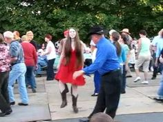 Uploaded on Oct 9, 2010       Mt. Airy Autumn Leaves Festival. Dance-off between girl in red dress and older man in blue.  (Older folks clog slower than the young'ns)