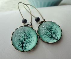 Aqua Winter Tree Earrings. Black. Branches. Gift for her under 25 usd. $20.00 USD, via Etsy.