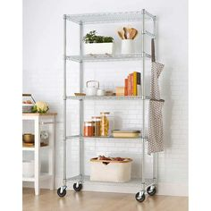 """TRINITY EcoStorage 5-Tier Wire Shelving Rack with Wheels , 36"""" x 18"""" x 72"""" NSF, Chrome Color Pantry Shelving, Shelving Racks, Wire Shelving, Kitchen Shelves, Kitchen Storage, Storage Racks, Home Wine Bar, Wine Bar Cabinet, Kitchen Appliance Packages"""