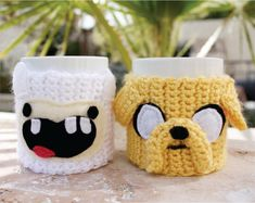 Jake the Dog Inspired Coffee Mug Tea Cup Cozy: Adventure Time -ish Crochet Knit Sleeve on Wanelo Crochet Coffee Cozy, Crochet Cozy, Crochet Crafts, Yarn Crafts, Free Crochet, Diy And Crafts, Kids Crochet, Adventure Time Crochet, Coffee Cup Sleeves