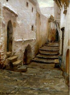 Algérie  -  Peintre American  Frederick Arthur Bridgman(1847-1928), huile sur toile  , Titre :  Une rue de la Casbah d'Alger