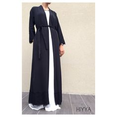 Perfect for everyone loving abaya kimono less loose more defined . Maxi Blazer look . Lace detail on arm sleeves and bottom of the kimono . Can be wear as: Jacket Open abaya Kimono matching belt 2 pockets Perfect to pair with our elegance dress Unique size Size guide ,can feet size 6 to 12 height from 52-54-55 -56 for a Abaya look like or can feet up to 58 for a maxi blazer look like ( above ankles ) model is size 8 , 5'7 tall