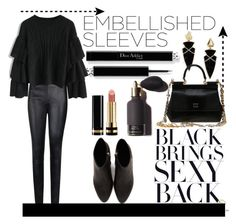 """black"" by esrakazimoglu ❤ liked on Polyvore featuring BaubleBar, By Malene Birger, Chicwish, Alexander Wang, Dolce&Gabbana and Gucci"