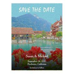 #savethedate #postcards - #Vintage Switzerland Interlaken alps Save the Date Postcard