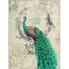 Leilani's Room - Peacock Poise II Animal Portrait Linen Print Artwork: Home…