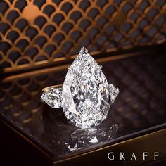 Graff Diamonds Perfect Elegance The elongated pear shape diamond is a favourite among the avant-garde. Conveying a certain confidence with its striking yet feminine appearance, this 15.01 carat D Flawless example demands to be admired.