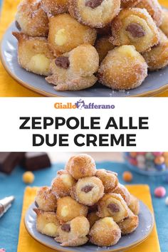 Zeppole alle due creme Donuts, Carnival Food, Snacks, Cupcakes, Gelato, Italian Recipes, Food And Drink, Cooking Recipes, Sweets