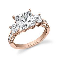 Glamorous Three-Stone Princess Diamond Engagement Ring SY559S