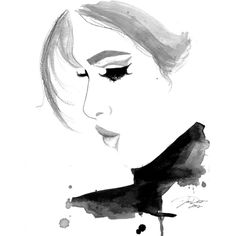 Original watercolor and pen fashion illustration by Jessica Durrant... ($175) ❤ liked on Polyvore