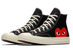 Détails sur COMME DES GARCONS PLAY x CONVERSE Chuck Taylor Noir Blanc Rouge Chaussures Basses afficher le titre d'origine