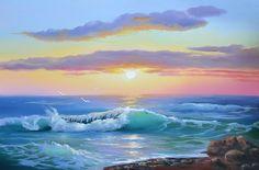 Фотография Ocean Art, Ocean Waves, Pictures To Paint, Nature Pictures, Landscape Art, Landscape Paintings, Seascape Paintings, Beautiful Landscapes, Scenery