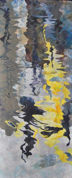 Reflections, Venice, var. 18 by Barbara Schneider -  Hand dyed fabrics, collaged, backed, free motion machine stitching  32 x 78
