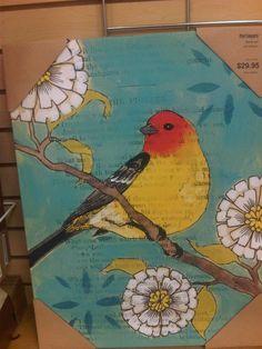 mixed media on canvas/ bird project