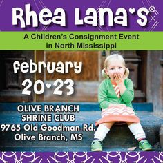 Rhea Lana's of North MS  www.desoto.rhealana.com      Wed. Feb. 20 from 9am-9pm   Thu. Feb. 21 from 9am-4:30pm   1/2 DAYS: Fri. Feb 22 from 9am-9pm   Sat. Feb 23 from 8am-2pm