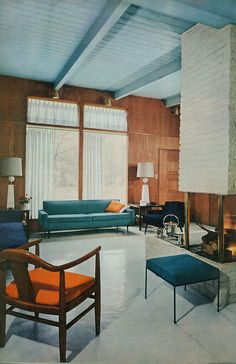 Mid-Century Modern Interior Design, Vintage Architecture, Vintage Decor, Vintage Furniture