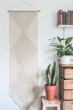 Macrame Wall Hanging > DIAMONDS > Ecru Recycled Cotton Cord with Bamboo by ButtermilkDesignCo on Etsy