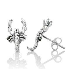 """925 Sterling Silver Tiny Scorpion Post Stud Earrings 16 mm Jewelry for Women, Men, Teens - Nickel Free Chuvora. $17.99. More Scorpion Jewelry available in our store. Please search Amazon for """"Chuvora Scorpion"""". Weight: 1.7 g. Size : 1 x 1.6 cm. Marked .925 Sterling Silver. Packaging: Black Velvet Pouch"""