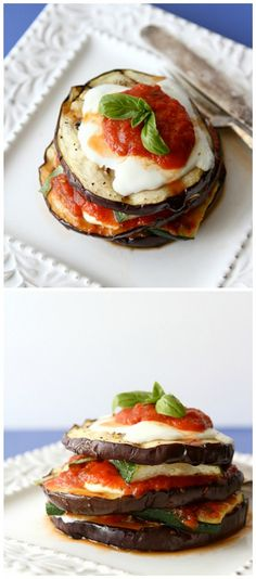 Grilled Zucchini and Eggplant Parmesan Recipe Vegetarian...216 calories and 6 Weight Watchers PP | cookincanuck.com #vegetarian #recipes #food #healthy #recipe