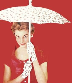Jan Rylander in matching gloves and parasol for McCall's magazine, February 1955.