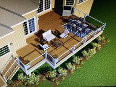 Beautiful deck with cable railing Cable Railing, 3 D, Michigan, Deck, Layout, Mansions, House Styles, Projects, Beautiful