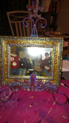 Glitter painted picture frame and stand. Display only, but can be replicated in your choice of colors