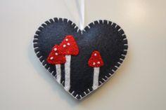 Felt Heart and Mushrooms