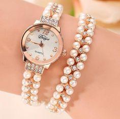 Diamond & Pearls Rhinestones Bling Women Girl Bracelet Watch Wristwatch #Unbranded #DressFormal
